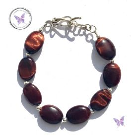 Red Tiger Eye Oval Bead Bracelet